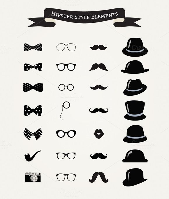 Check out Vintage Hipster Icons by Olka on Creative Market