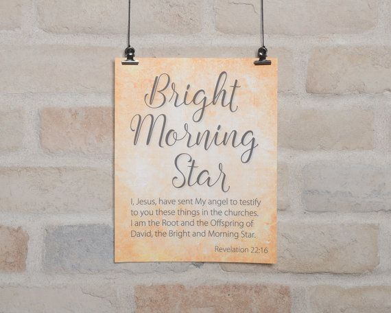 Bible Verse printable, Names of God, Bright Morning Star, Revelation 22:16, Christian print