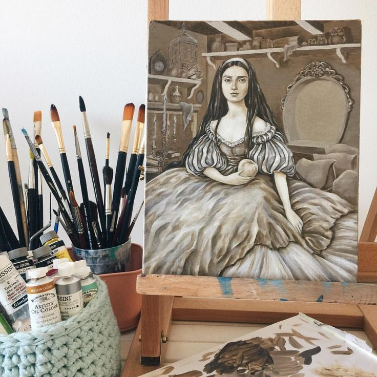 """Eeva Nikunen (@eevanikunen) on Instagram: """"The underpainting for Snow White is almost finished. I'll have to wait a couple of days for it to…"""""""