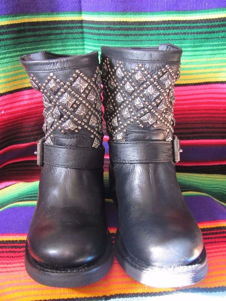 Ash Italia Handmade Mexican Studded Biker Booties Brand New All Genuine Leather  #AshItalia #Motorcycle #Any