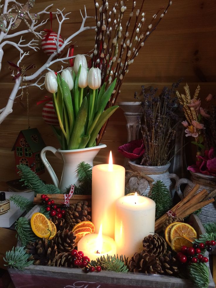 Christmas magic in 5 minute scented cones orange slices cinnamon sticks noble fir berries and candles