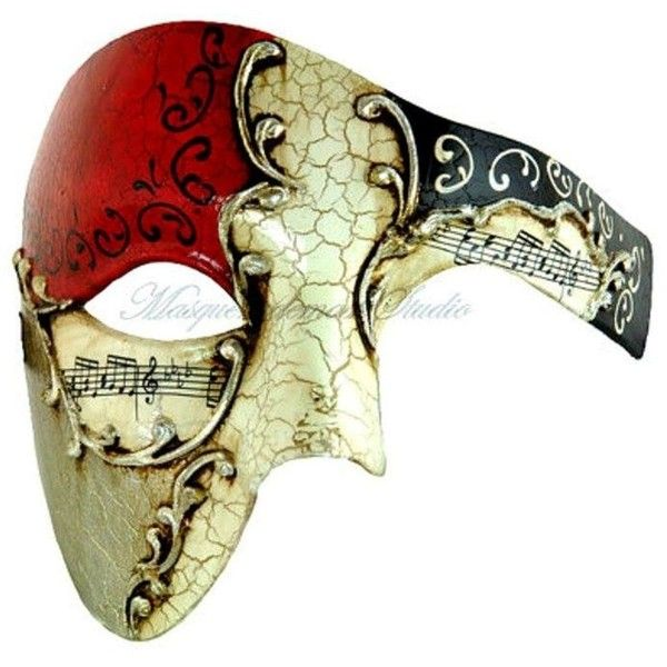Half Men Face Mask Red Musical Venetian Masquerade Mask Phantom... ($15) ❤ liked on Polyvore featuring men's fashion