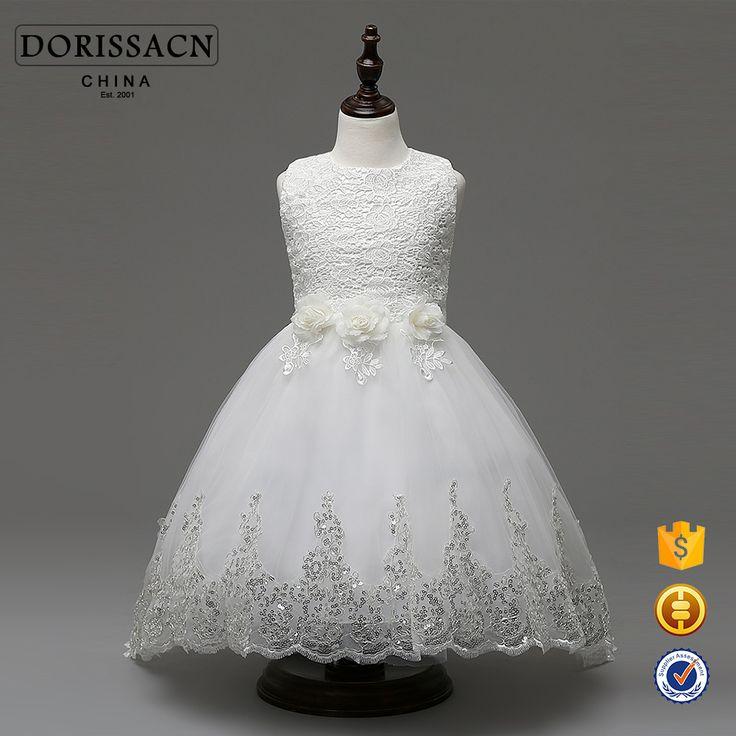 wholesale flower girl dress for girl Children Long Frocks Designs kid baby white ball gown for wedding birthday Bridesmaids