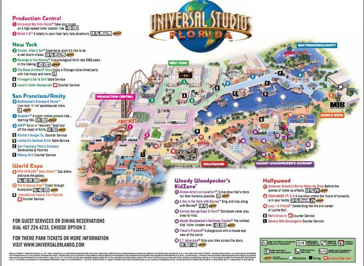 Universal Studios Orlando map of area  Universal Studios Guide