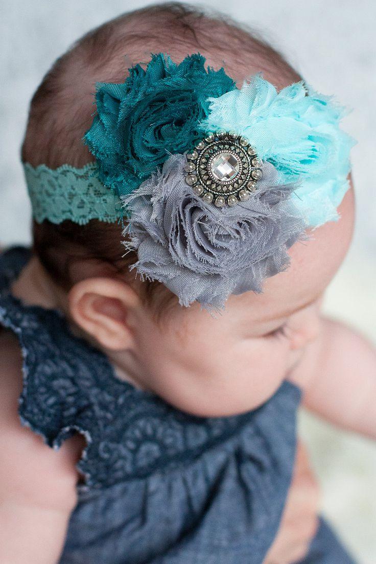 Trio Flower Lace Headband Shabby Flower Headbands by SecretBlossom, $10.49