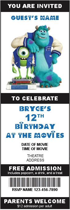 Bryce's Monsters University invitation