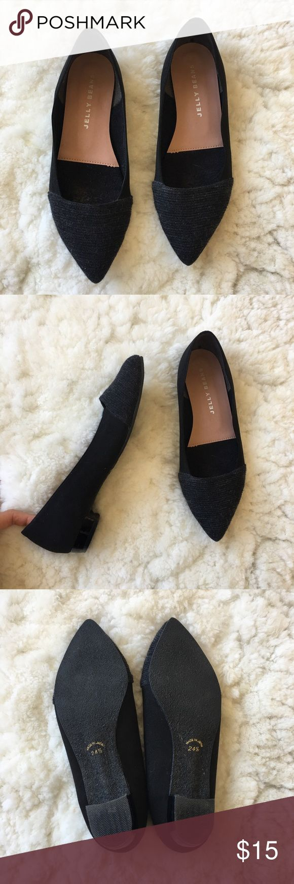 Japanese Black / Dark Grey Low Heels Jelly Beans 1-inch flats. Soft black suede body with dark grey wrap. Gently worn. US size 8 (Japanese Size 24.5) Made in Japan. Jelly Beans Shoes Flats & Loafers