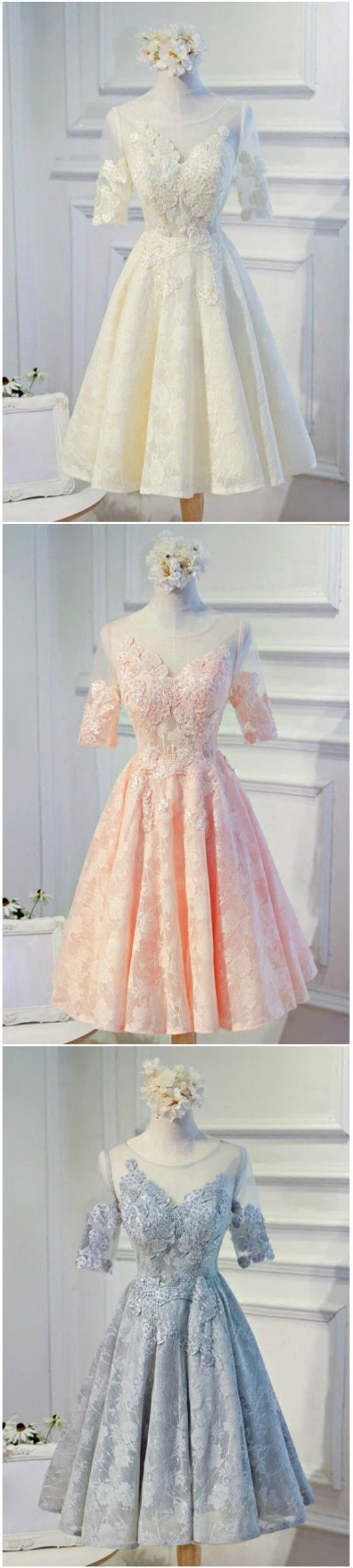 Champagne/ Pink/Grey Feminine A-line Scoop Neck Tea-length Tulle Homecoming Dress With Appliques Lace