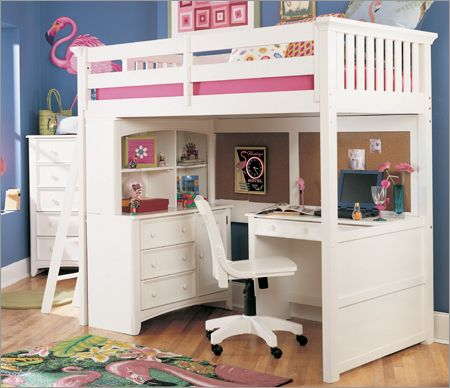 Exotic White Loft Beds With Desk For Girls Rooms Design