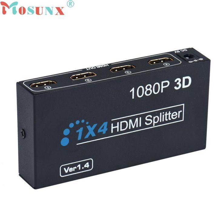 OEM HDMI Splitter Box Full HD 1X4 4 Port Hub Repeater 3D 1080P US Plug MAY31