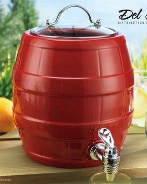 Cherry Red Ceramic Barrel Drink Dispenser With Spigot eclectic serving utensils