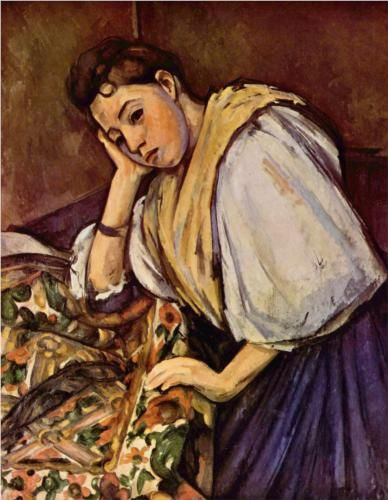 Young Italian Girl Resting on Her Elbow - Paul Cezanne