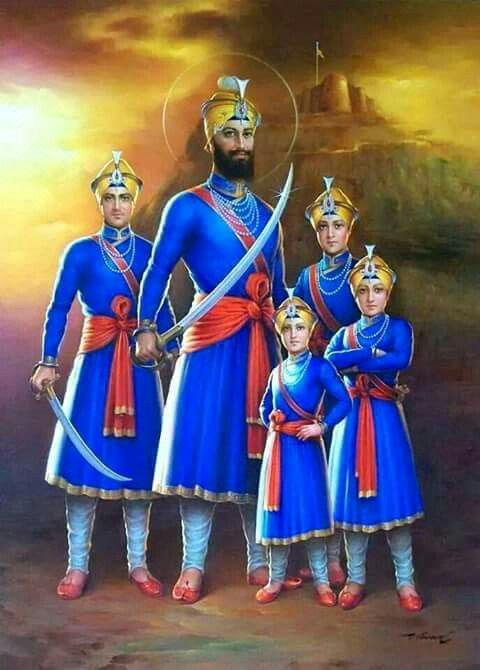 Guru Gobind Singh Ji with Four Sahibzaades