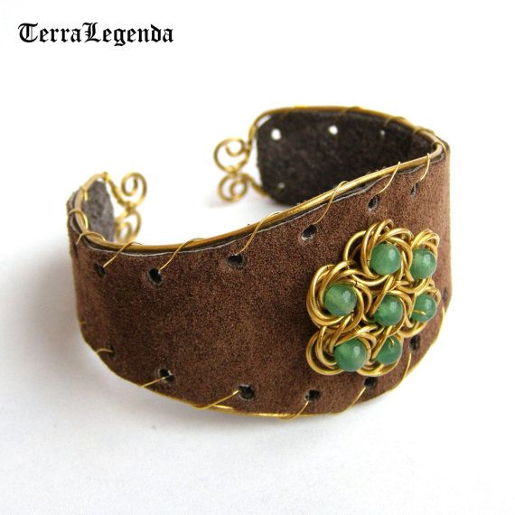 Royal Forest leather & chainmaille cuff bracelet, unique chainmaille jewelry with aventurine, brass, brown leather