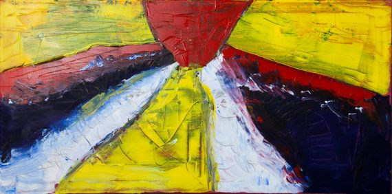 Original Large Abstract Acrylic Painting.  Signed and dated on the back.  Size: 100cm x 50cm (39in x 19.5in)