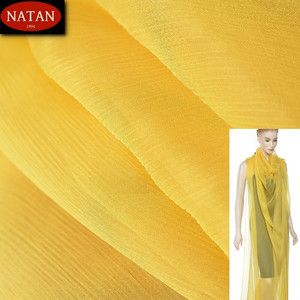 Jedwab naturalny szyfon YELLOW Żółty