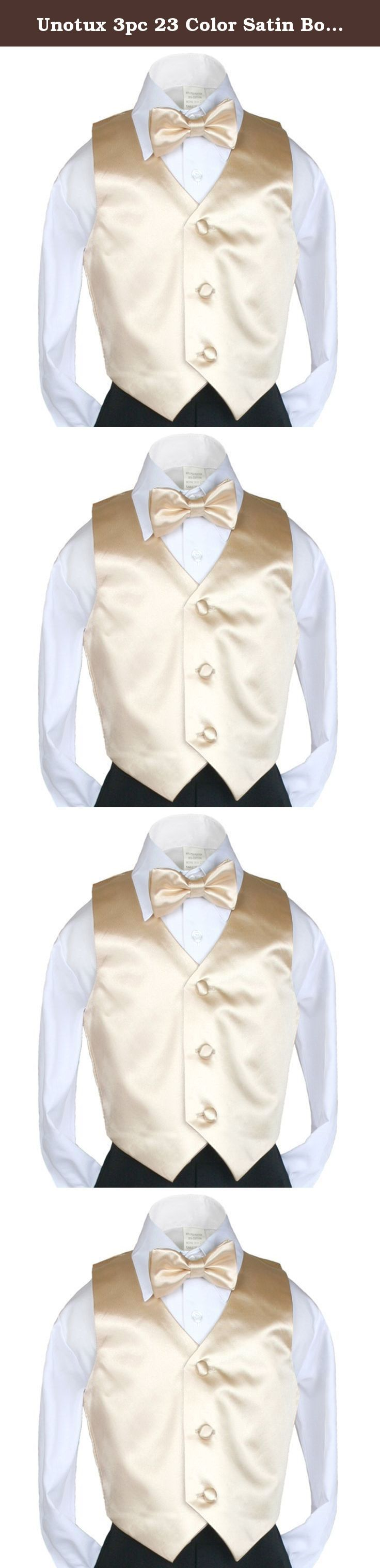 Unotux 3pc 23 Color Satin Boys Vest Bow Tie Necktie Sets Formal Tuxedo Suits S-7 (4T, Light Champagne). 1. 100% Satin Vest 2. Matching Boy Baby Suit S-XL (Baby Sizes), Toddler suit 2T-4T (Toddler Sizes), Kid suit 5-14 (Kid Sizes), Teen suit 16-20 (Teen Sizes) 3. Satin Covered Buttons for Closure 4. Satin Fabric is used on the back of vest as well. Our store carries 23 color in this style: Black, Brown, Burgundy, Coral, Dark Gray, Eggplant, Fuchsia, Gold, Green Teal, Ivory, Light Champagne...