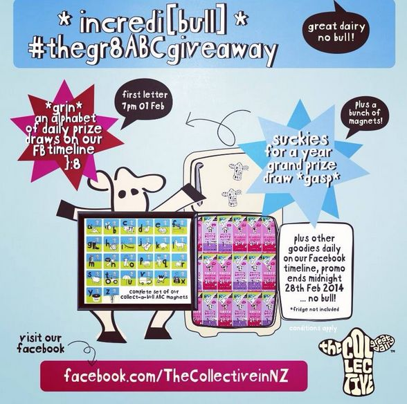 head on over to The Collective Facebook page & like what you see to enter our grand draw for a years worth of The Collective suckies + a full set of collect-a-bull fridge magnets here #thegr8ABCgiveaway #competition