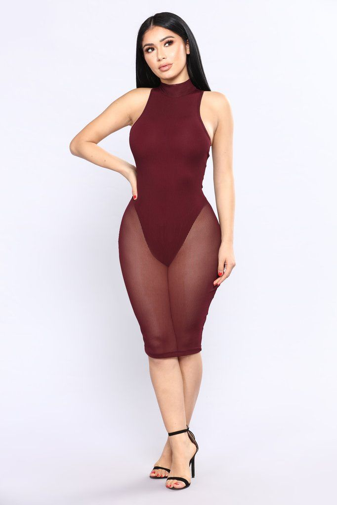 ad97b0103a2 Mobbin Mesh Dress - Red Brown