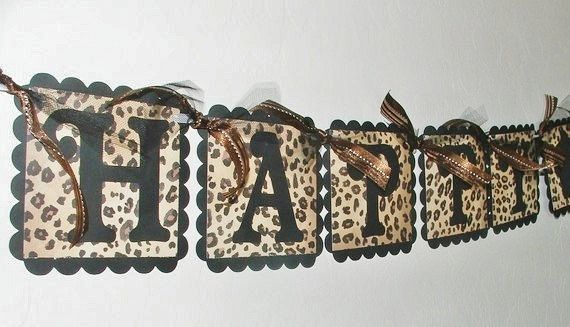 Cheetah Print Birthday Decorations | Leopard Print HAPPY BIRTHDAY Banner with cupcake by JustBeccuz