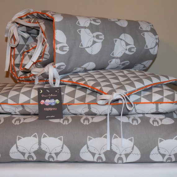 100%COTTON Cot Bed Duvet Cover Set with bumper Girls Boys Grey
