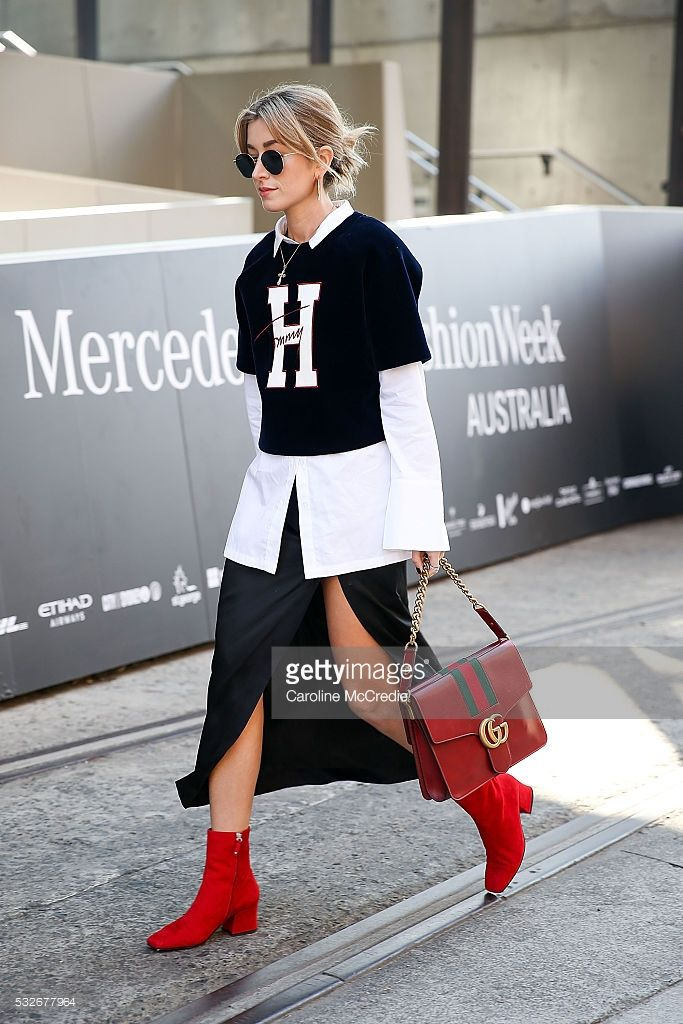 Carmen Hamilton, wearing Tommy Hilfiger top and Gucci handbag, arrives at Mercedes-Benz Fashion Week Resort 17 Collections at Carriageworks on May 19, 2016 in Sydney, New South Wales.