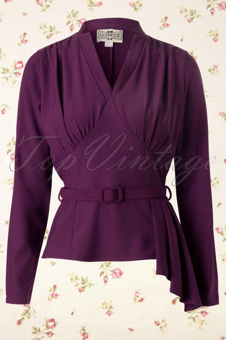 Collectif Clothing - 40s Veronique Top in Aubergine