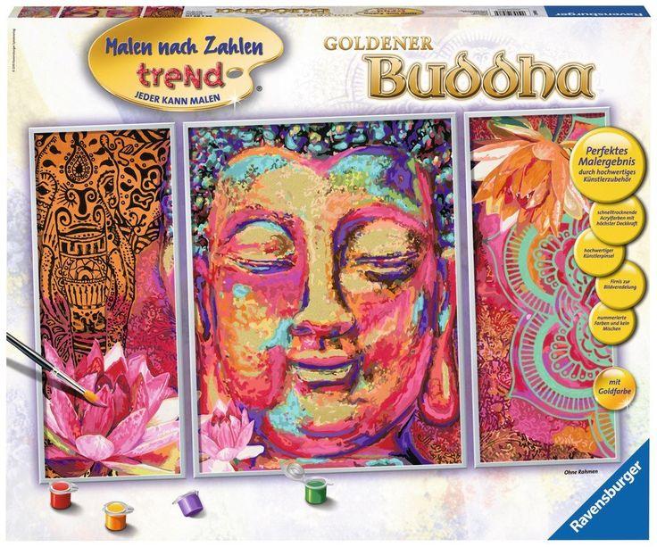 Ravensburger 28976 - Goldener Buddha, Malen nach Zahlen Triptychon, 80 x 50 cm: Amazon.de: Spielzeug