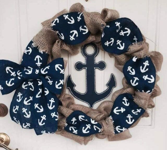 A personal favorite from my Etsy shop https://www.etsy.com/listing/240426558/nautical-wreath-anchor-wreath-burlap