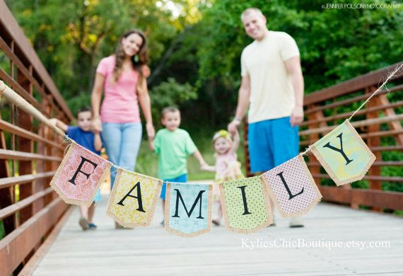 FAMILY Burlap Banner Bunting Pennant Newborn by KyliesChicBoutique, $27.00