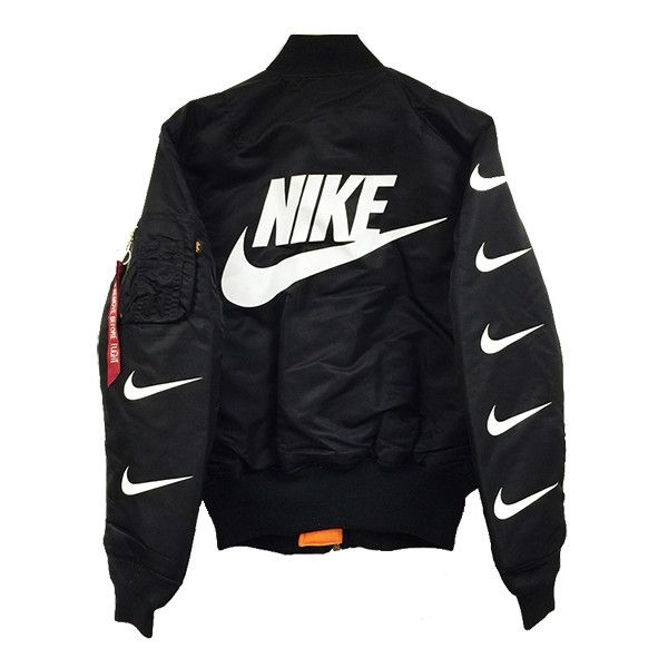 Nike x Alpha Industries MA-1 Bomber Jacket ($125) ❤ liked on Polyvore featuring outerwear, jackets, blouson jacket, bomber style jacket, style bomber jacket, bomber jackets and flight jacket