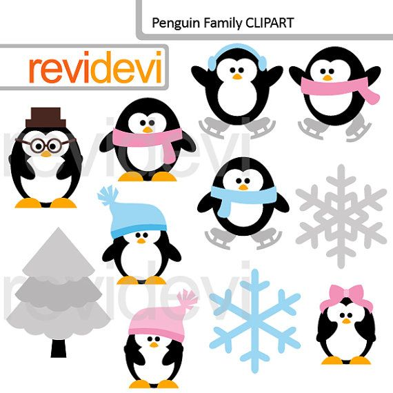 Winter clipart.. Penguin Family 07567.. Digital clip by revidevi