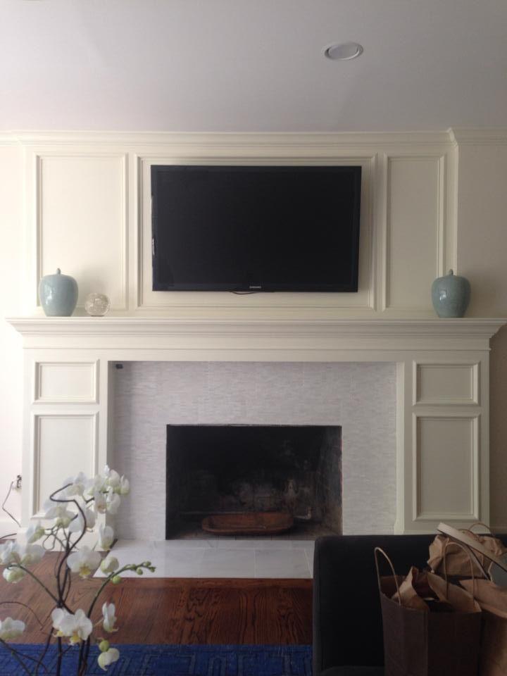 Historical Home mantle redo. #thetileshop #marble... Benjamin Moore - Linen white