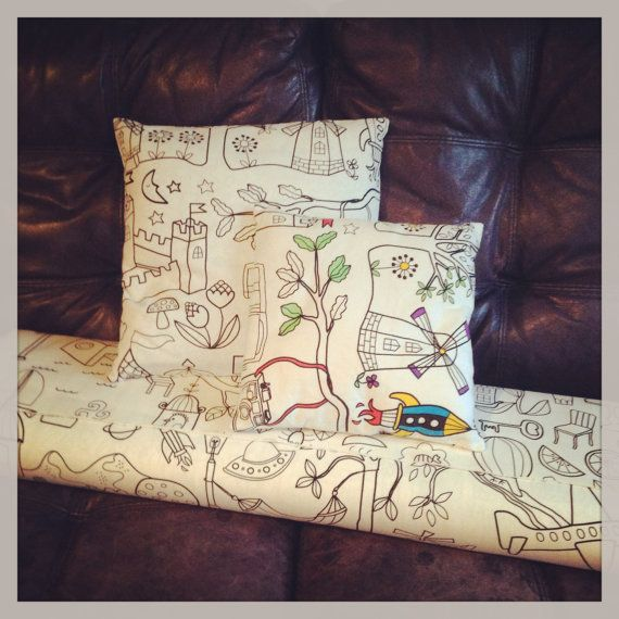 Colouring Book Cushion by EvieandLola on Etsy