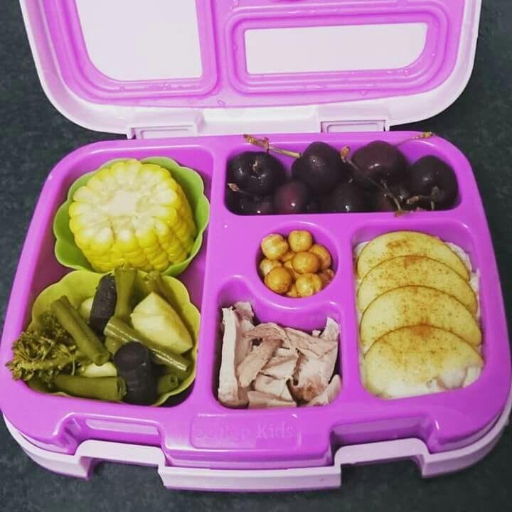 Corn, beans, zuchinni, broccolini, purple carrot, roast pork, apple and cinnimon yoghurt, cherries, roasted chickpeas.
