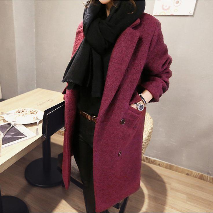 Купить товар2015 корейский стиль элегантный зимнее пальто женщин красный двойной карман шерстяные женский мода кашемировые пальто длиной верхняя одежда в категории Шерсть и сочетанияна AliExpress.     2015 корейский стиль элегантный зимний пальто женщин красный двойной карман шерстяные женские пальто мода кашемирово