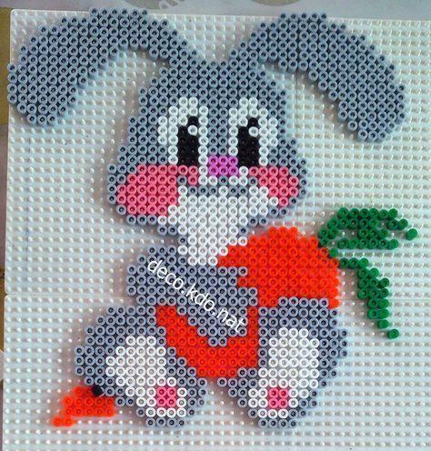 Rabbit hama beads by deco.kdo.nat – #beads #decokd…
