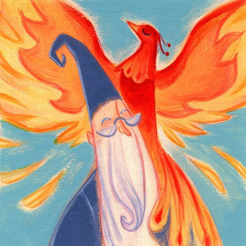 Casey Robin's Adorable Harry Potter Illustrations: Dumbledore and Fawkes