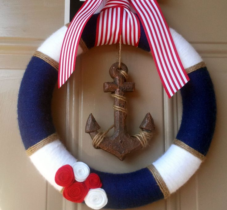 Nautical wreath / Yarn Wreath / Anchor Decor / Navy and White / Red and White. $34.00 via Etsy.