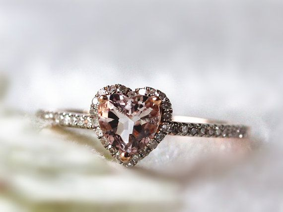 14k Rose Gold Lovely Heart Shaped Morganite Halo Diamond Engagement Ring /Heart Shaped Ring/Morganite Ring for Valentine's Day