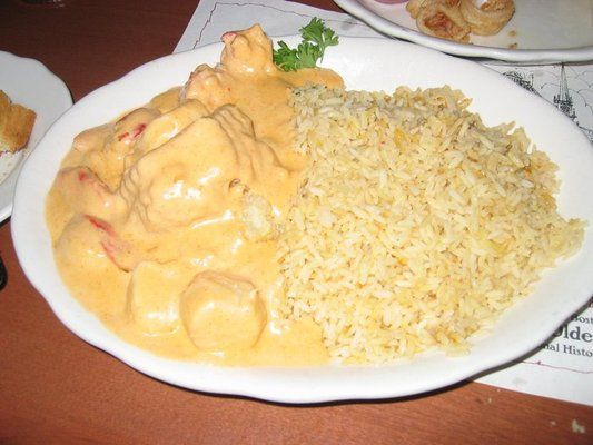 Seafood Newburg - Excellent! Didn't use the lobster base or sherry. Added a bit of Old Bay seasoning. Use only 2 1/2 tbsp. flour - was to thick with 3+.