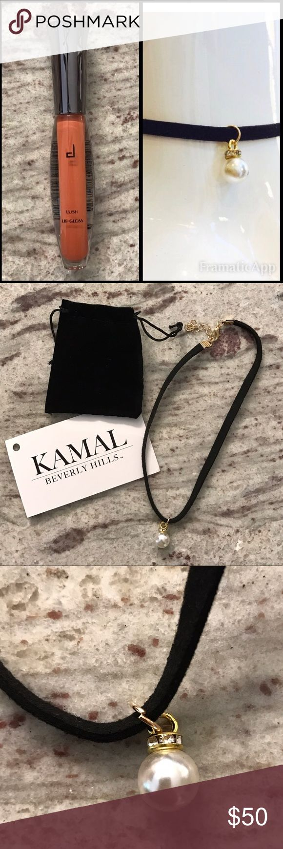 Kamal Beverly Hills Choker and Doucce Lip Gloss NWOT Kamal Beverly Hills Handmade Suede Choker with adjustable clasp. Retail $100. NWOT Doucce Lush Lip Gloss in Peachy Nature. A high definition lip gloss that delivers brilliant and sophisticated shine. The intensely concentrated pigments give off a shimmery radiant shine that shapes, defines, and sculpts the lips with ease. The silky and non-sticky textures build to the intensity you desire, while keeping the lips moisturized. Ask with any…