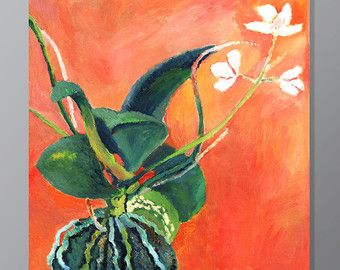 ORCHID, Green Flowers, Still life Red painting, Oil on canvas, Art for home, Contemporary Wall Art Handmade, 20x20 inches