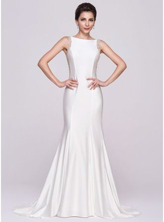 Trumpet/Mermaid Scoop Neck Court Train Tulle Jersey Evening Dress With Beading Sequins http://bit.ly/1e4q9ID