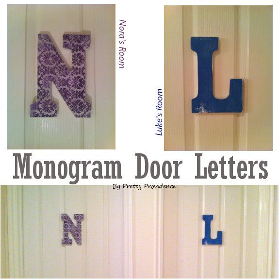 Easy monogram letters! I've been wanting to figure out something for the kids' doors for the longest time and I love how these turned out!