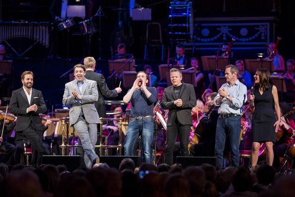 (L-R) Alfie Boe, Jason Manford, Ben Miller, Rob Deering, Alexander Armstrong and Juliette Pochin perform at the Symfunny fundraiser in aid o...
