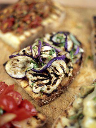 Aubergine Bruschetta   Bread Recipes   Jamie Oliver Recipes