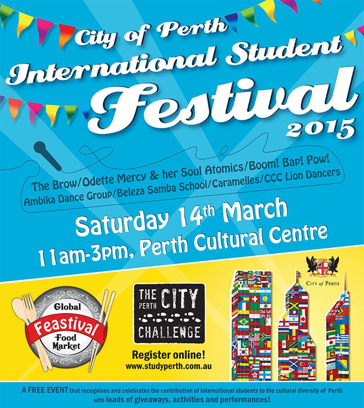 Come down to the City of Perth International Student Festival on 14th March at the Cultural Centre for a fun-filled day with lots of giveaways!  http://studyperth.com.au/isf