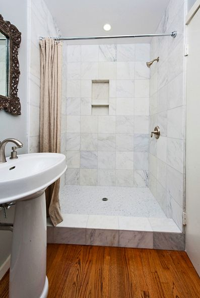 Walk In Shower With Curtain Instead Of Door Google Search Bathroom In 2019 Bathroom Guest
