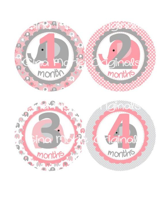 Baby Monthly Milestone Growth Stickers Pink and Grey Elephant Nursery Theme Baby Shower Gift Baby Photo Prop